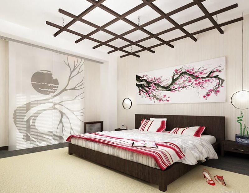 Светлая спальня без окна в восточном стиле