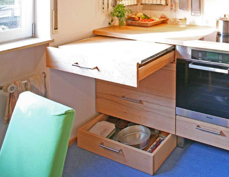 Выдвижной ящик внизу кухонного гарнитура