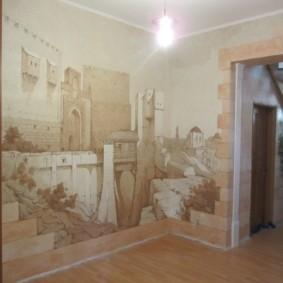 жидкие обои в коридоре замок на стене