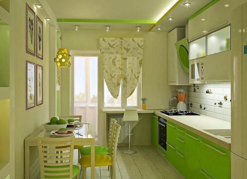 Линейный гарнитур на кухне с балконом