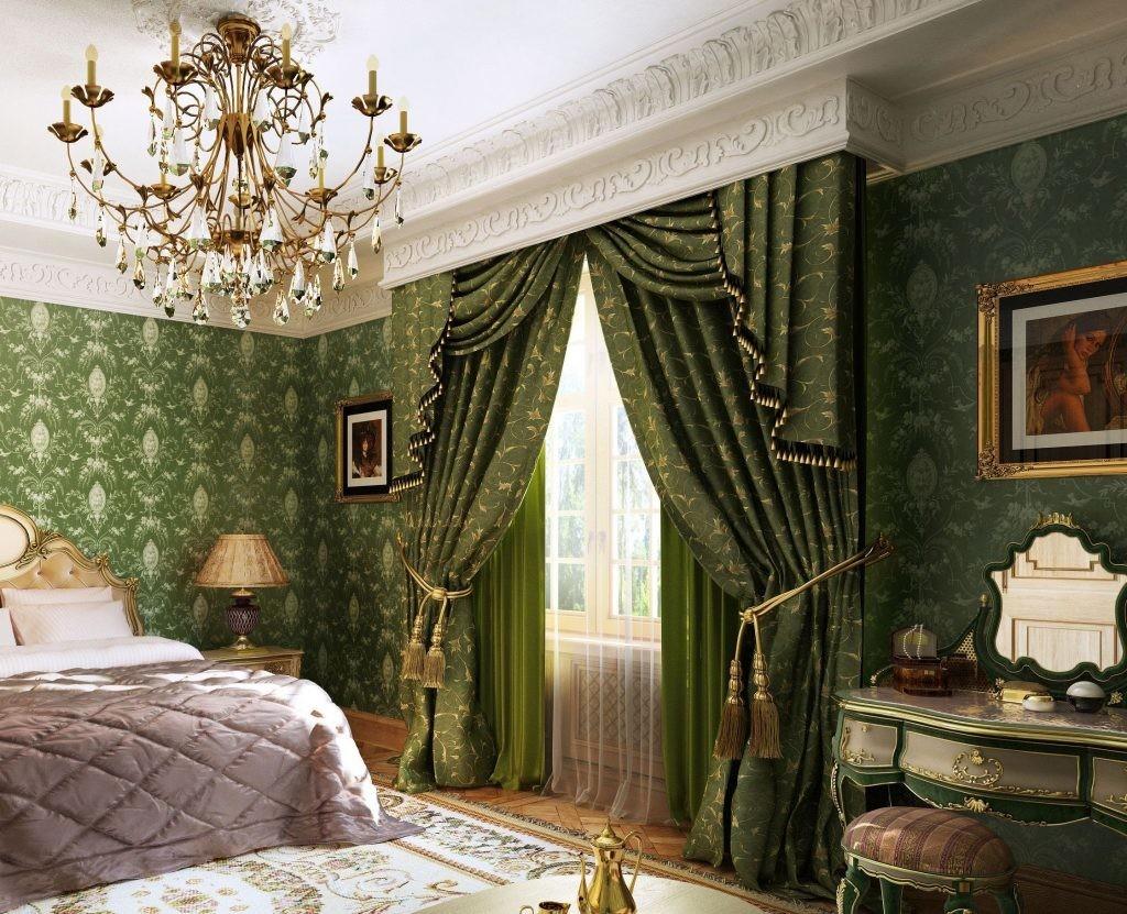 Зеленые шторы на скрытом карнизе в спальне барокко