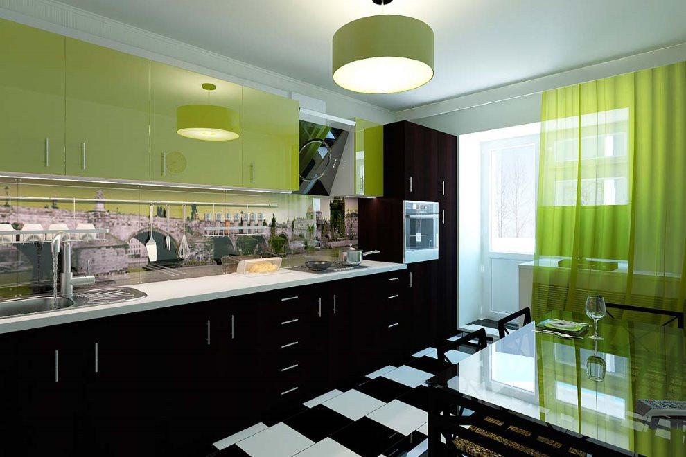 Белая столешница гарнитура с черно-зелеными фасадами