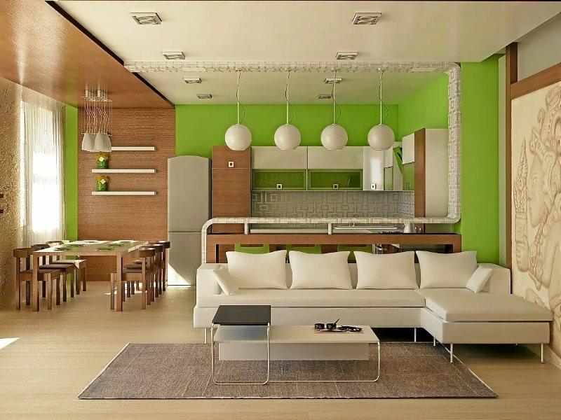 Зонирование кухни-гостиной цветом и фактурой