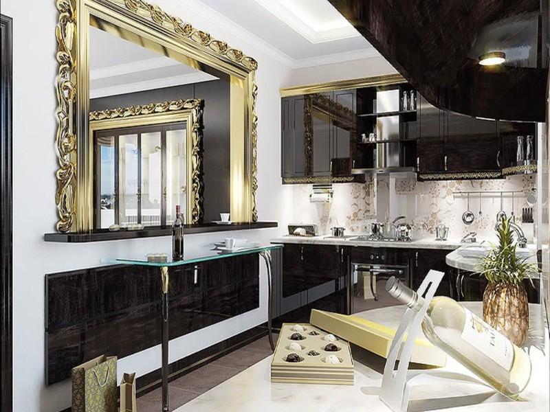 Зеркало на кухне в стиле арт-деко