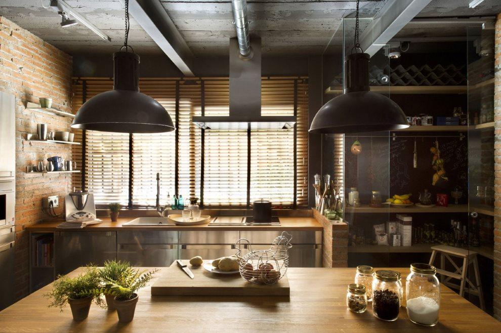 Серый потолок кухни в стиле лофт