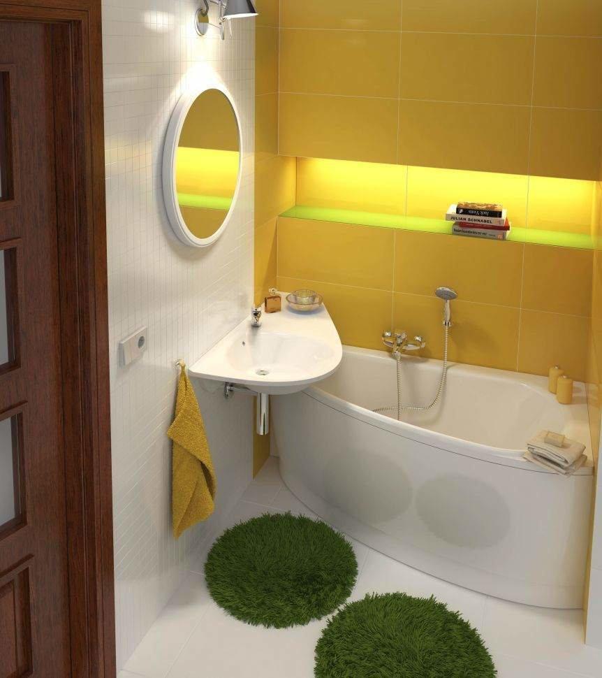 Интерьер ванной с желтой кафельной плиткой