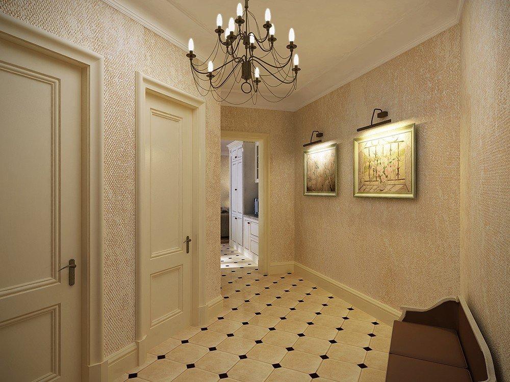 жидкие обои в коридоре в классическом стиле