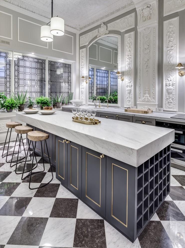 Красивая кухня в оттенках серого цвета