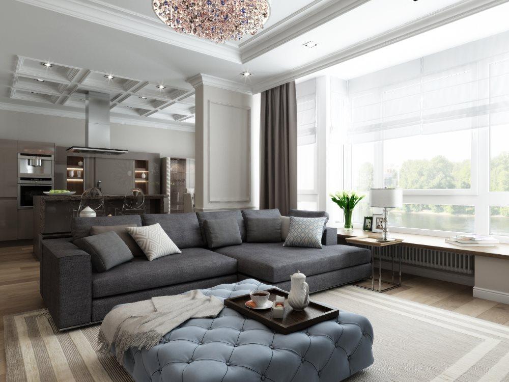 Зонирование диваном кухни-гостиной 40 квадратных метров