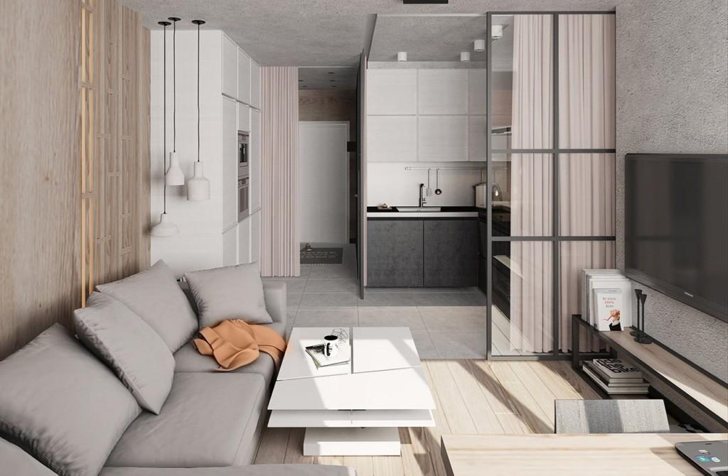Зонирование шторой квартиры-студии