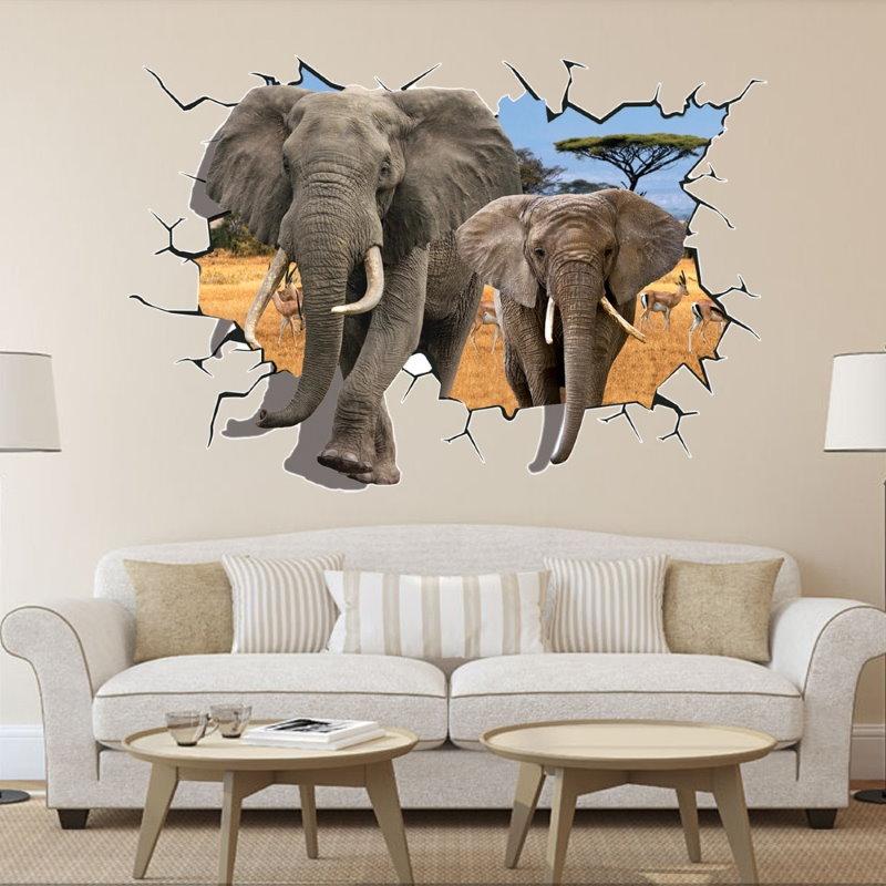 Декор стены гостиной креативной наклейкой