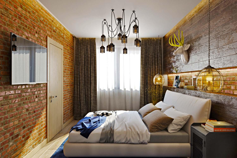 спальня 14 кв метров в стиле лофт