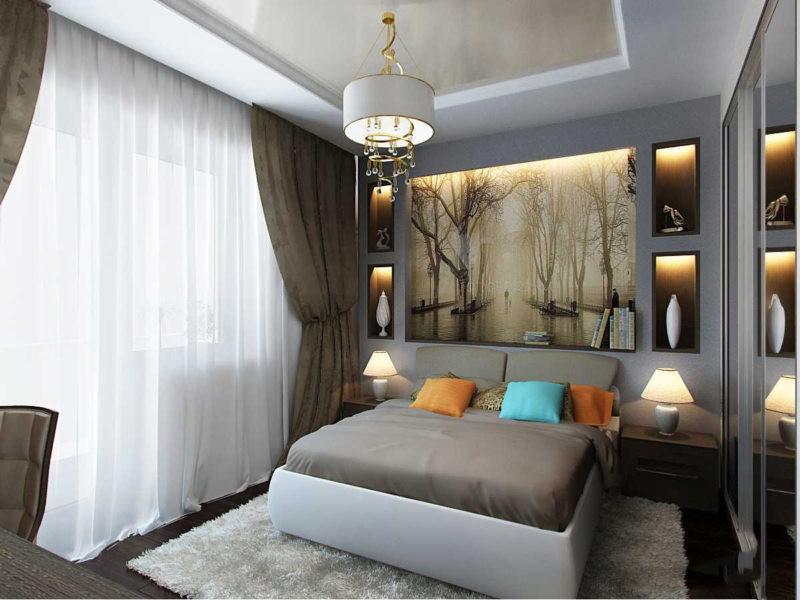 спальня 15 кв метров кровать