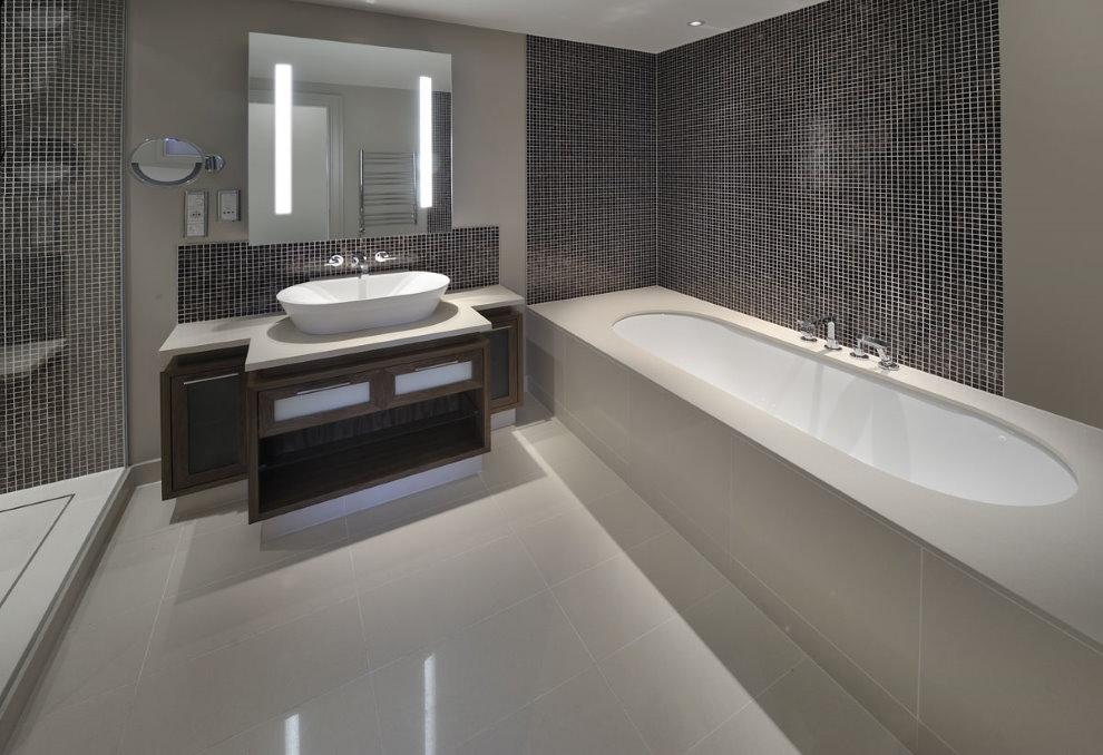 Кварцевый агломерат в современной ванной комнате