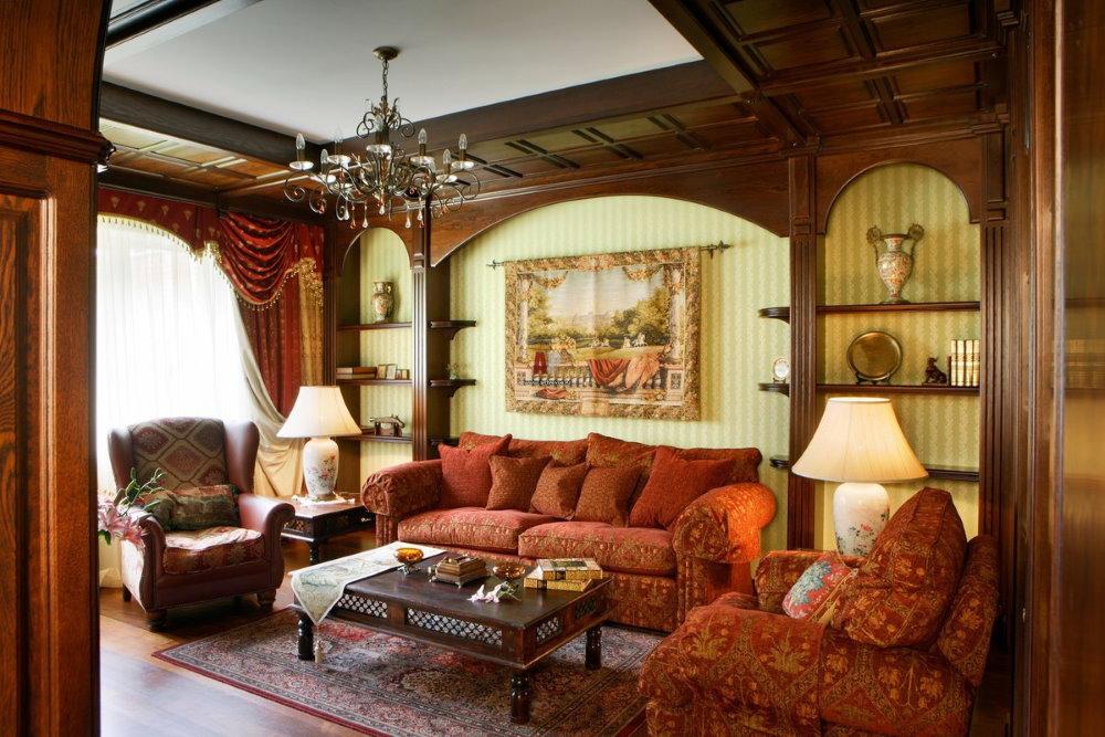 Аристократический интерьер гостиной в английском стиле