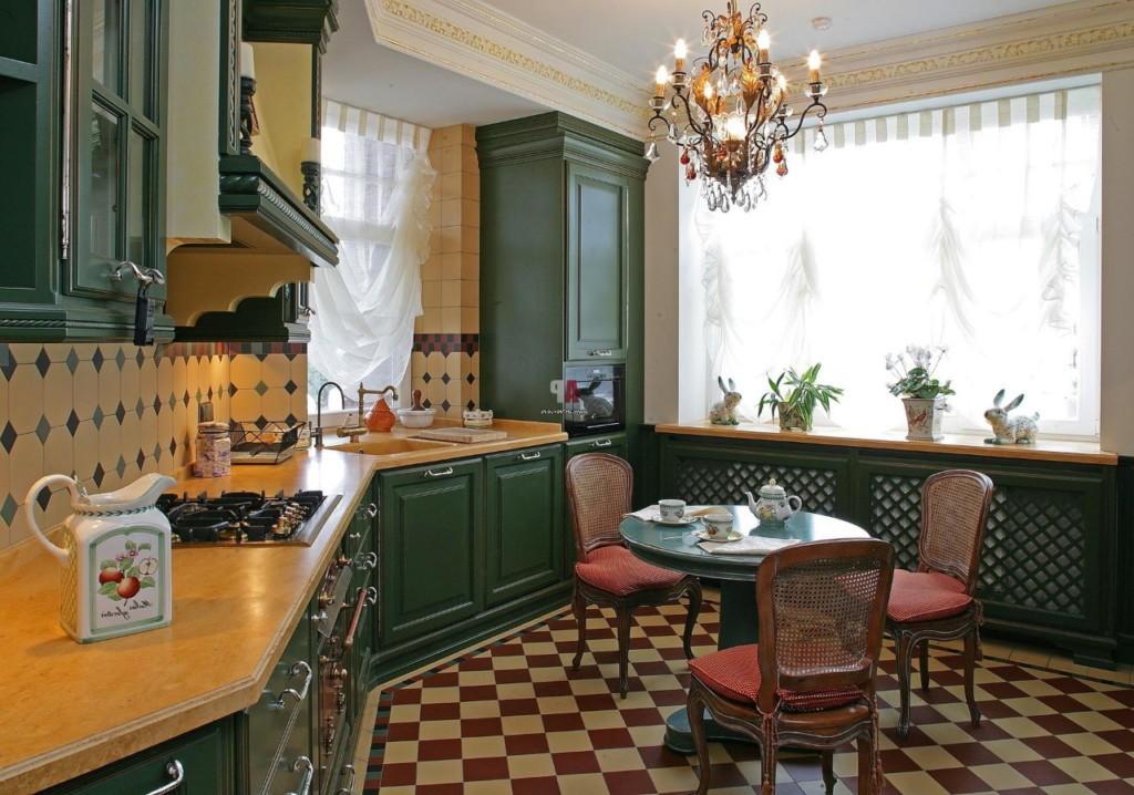 Интерьер кухни квартиры в британском стиле