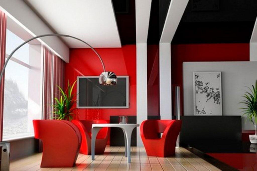 Красно-черный интерьер гостиной в стиле авангард
