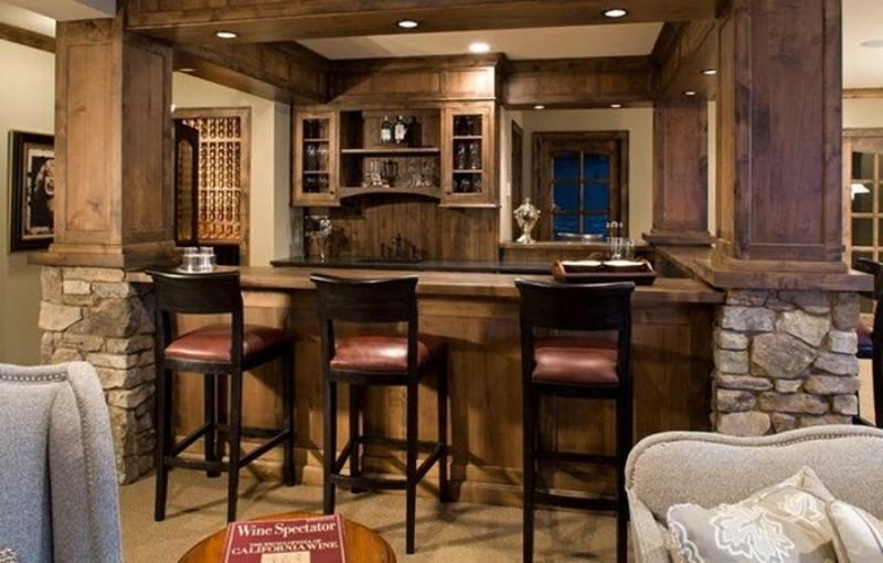 барная стойка вв интерьере кухни