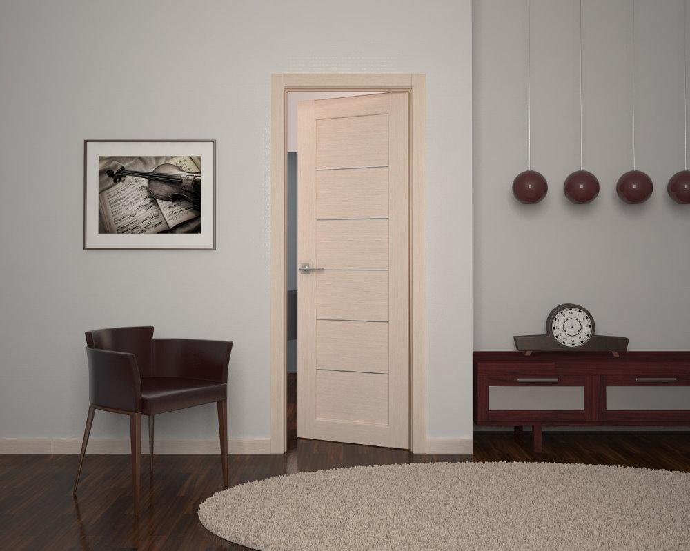 Узкая дверь цвета беленного дуба