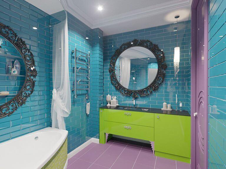 Дизайн бирюзовой ванной в стиле арт-деко