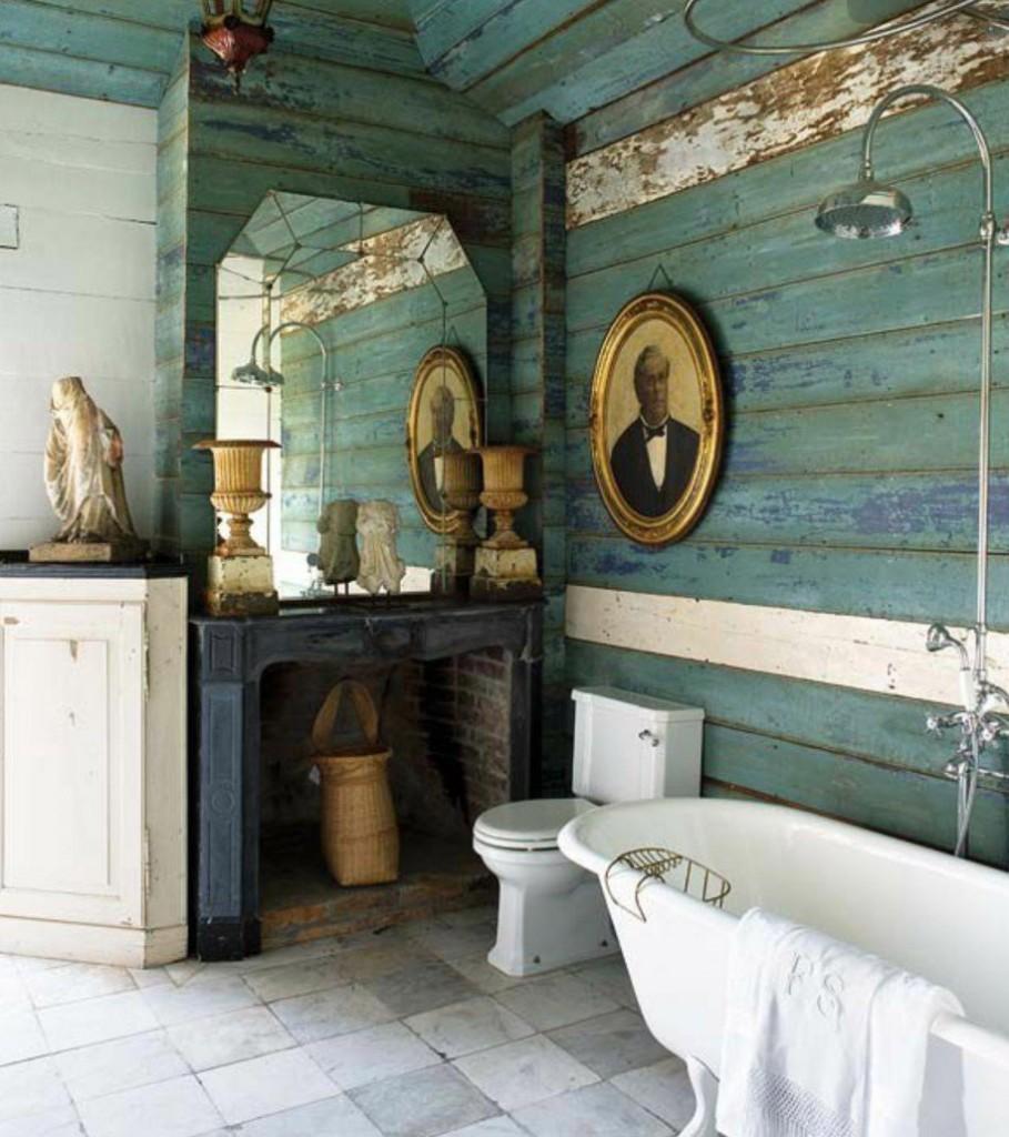 Интерьер ванной в стиле ретро в частном доме