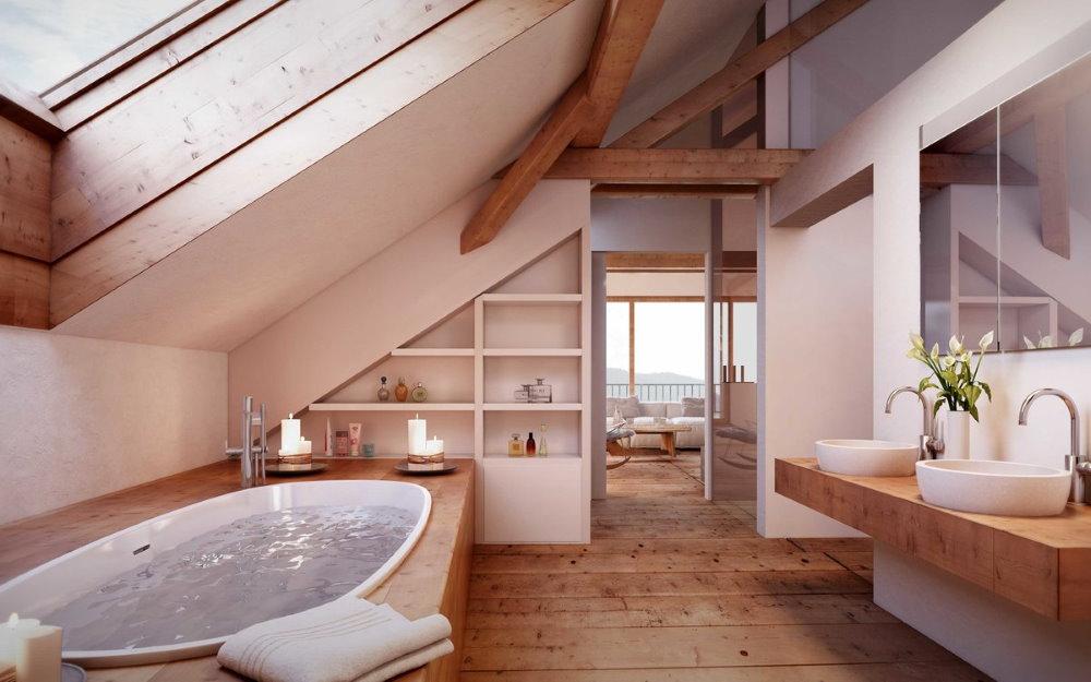 Светлая ванная комната в мансарде загородного дома