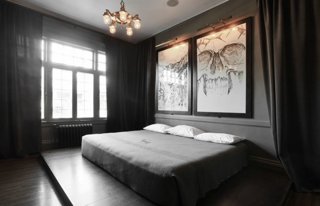 Большие картины над кроватью в спальне