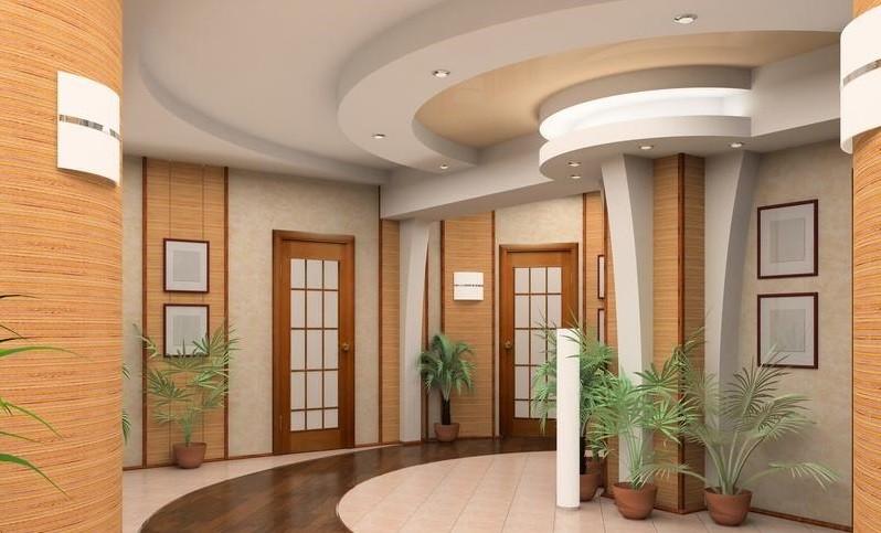 большой коридор с потолком из гипсокартона