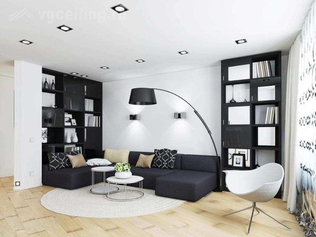 Черная мебель в белой гостиной