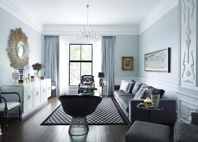Черно-белая комната в неоклассическом стиле