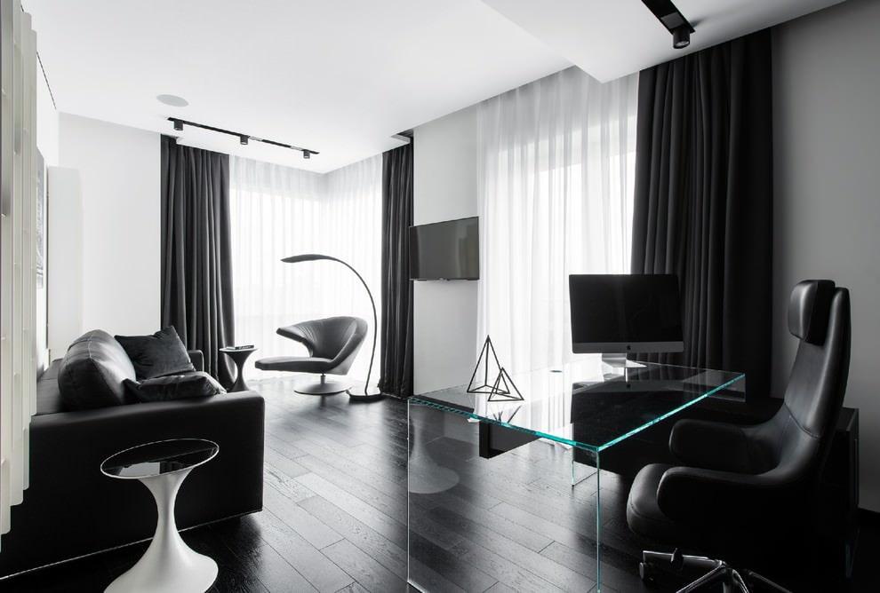 Интерьер современной гостиной в черно-белой гамме