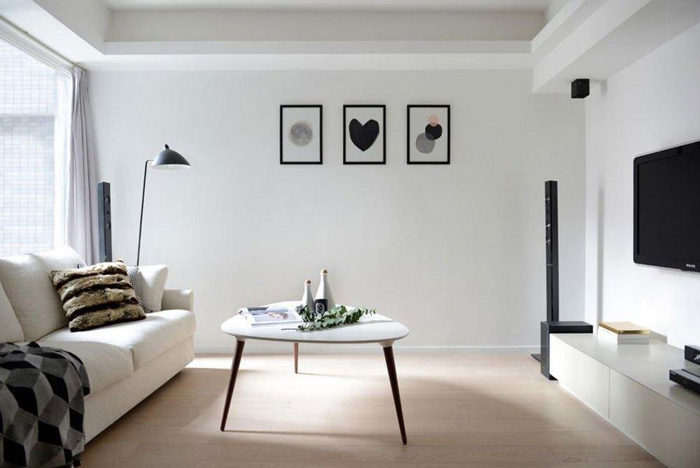 Небольшая гостиная в стиле минимализма с белым потолком