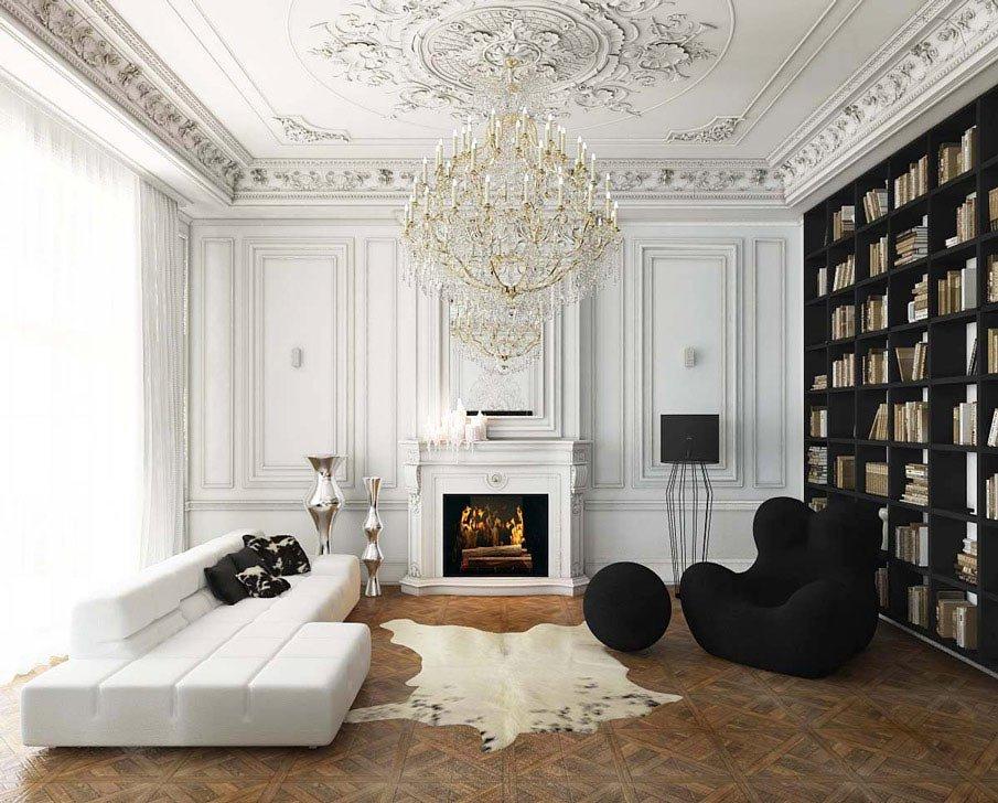 Черный книжный стеллаж в гостиной с белым диваном