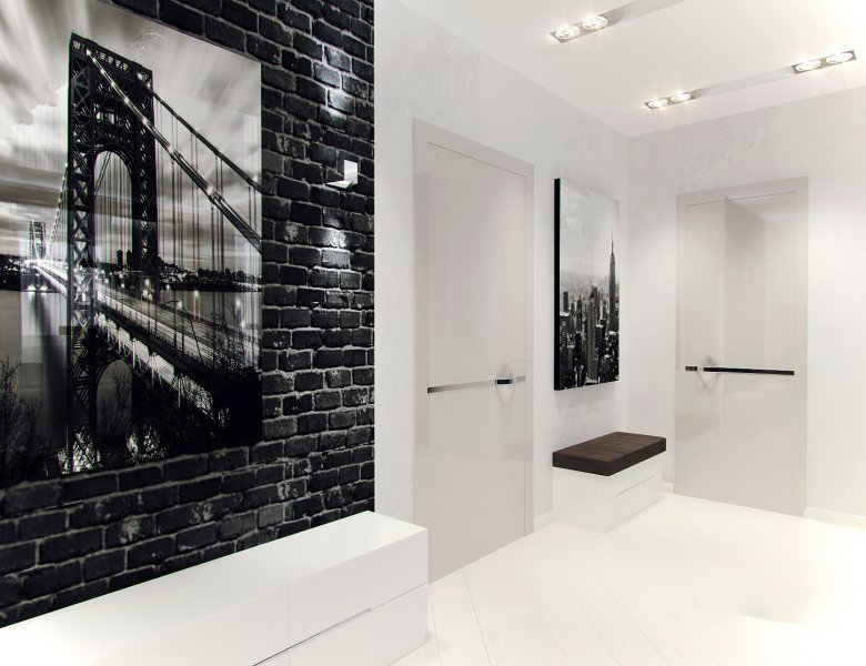 Фотообои на стене большой прихожей в стиле хай тек
