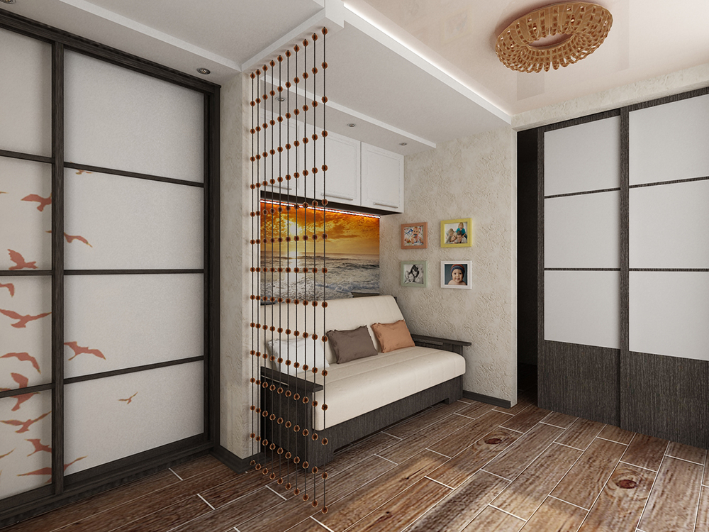 Небольшой диванчик в углу однокомнатной квартиры