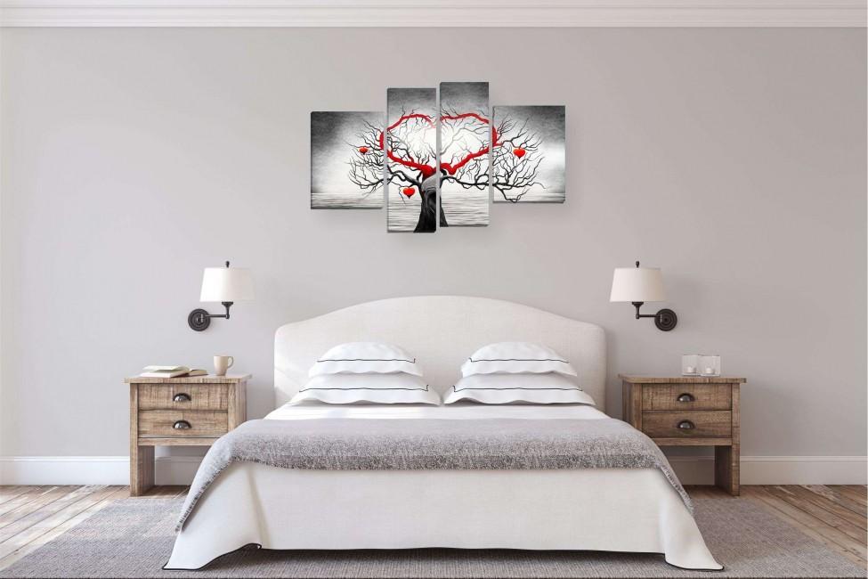 Модульные картина как декор интерьера спальни