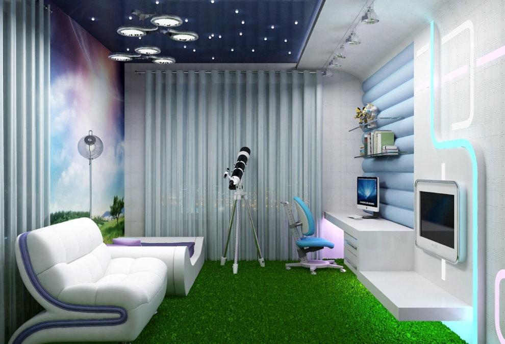 Зеленый ковер в детской комнате стиля хай-тек