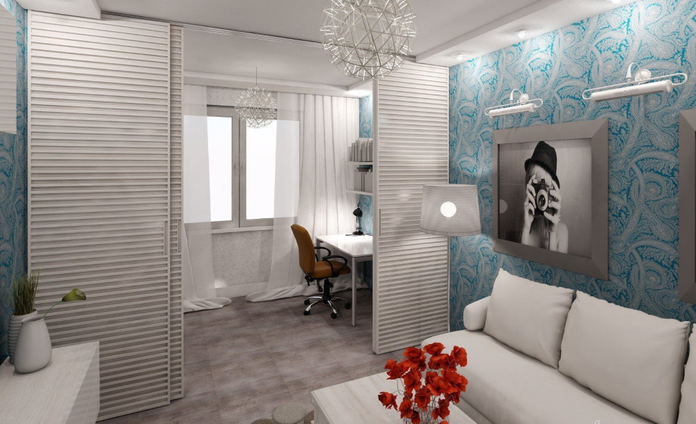 Раздвижная перегородка в общей комнате квартиры