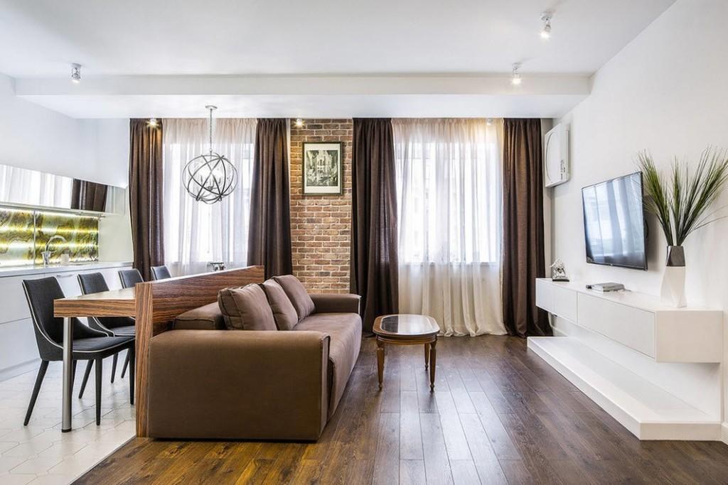Зонирование мебелью кухни-гостиной холостяка