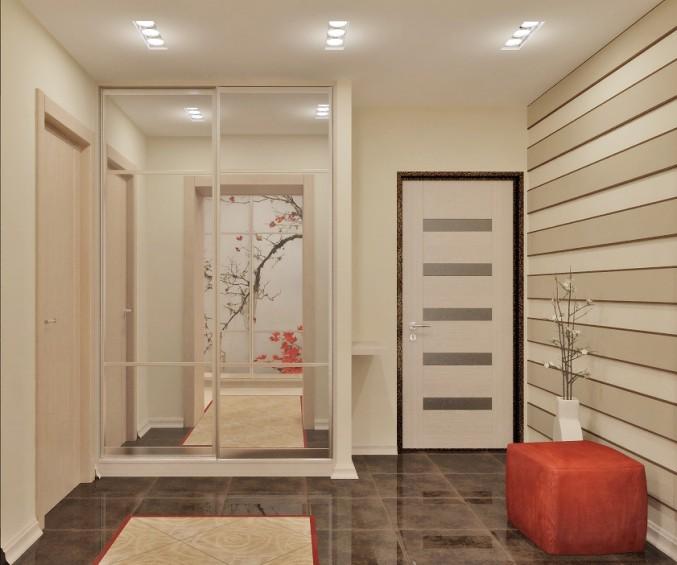 ддизайн коридора с комбинированными обоями