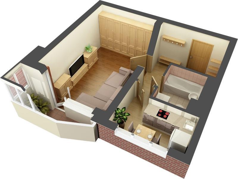 Дизайн-проект однушки в панельном доме 44 Т