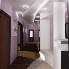 светлый дизайн обоев для узкого коридора