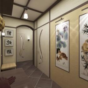 яркий дизайн обоев для узкого коридора