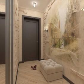дизайн фотообоев для узкого коридора