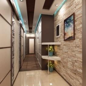 дизайн обоев для узкого коридора фото