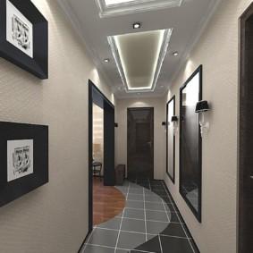 стильный дизайн обоев для узкого коридора