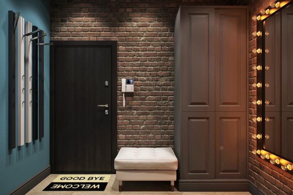 дизайн прихожей с темными дверями лофт