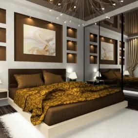 дизайн спальни 14 кв м с зеркальным шкафом