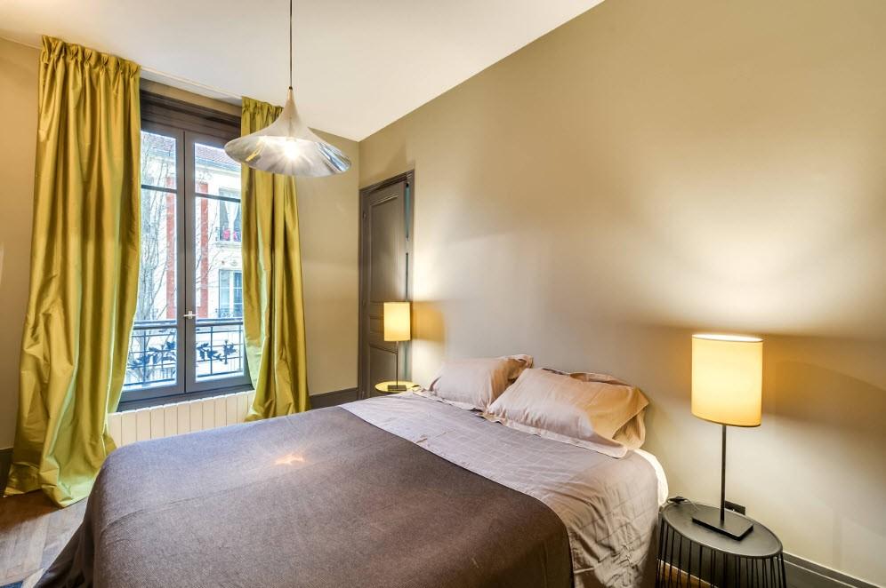 спальня 16 кв метров однотонные обои