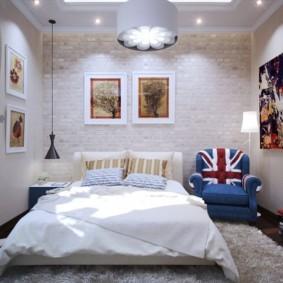 спальня 16 кв метров точечное освещение